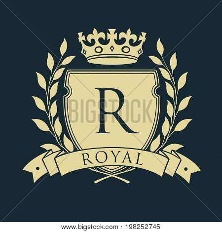 Royal coat of arms. Heraldic royal emblem shield with crown and laurel wreath.  raster illustration