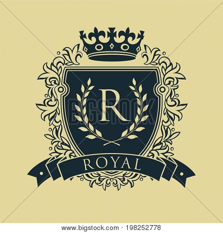 Coat of arms. Heraldic royal emblem shield with crown and laurel wreath.  raster illustration