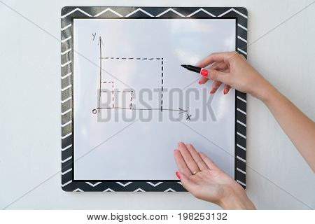 A girl is drawing a chart on a white board. Female hands with a marker.