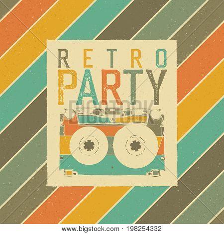 Retro Party. The best of 80's. Vintage Music Party Leaflet Template. Retro colors. Audiocassette retro image. Grunge, vintage, textured illustration.