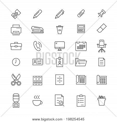 Set of 30 icons office tools. Icons for web sites or user interfaces.