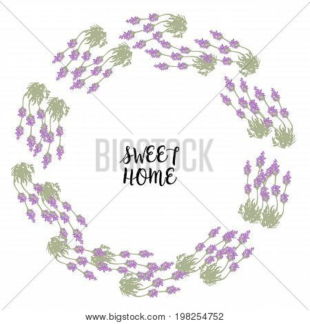 Bunch of lavender in circle frame for sweet home print, card, vector