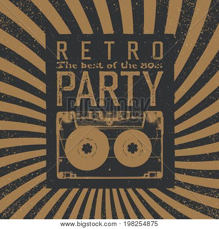 Vintage Party Leaflet Template. Radial rays background, black and beige colors. Audiocassette retro symbol