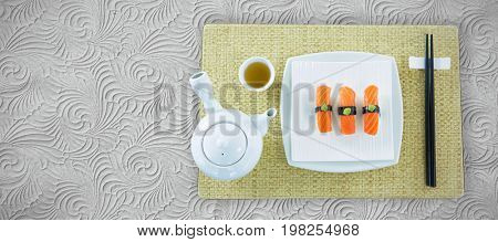 Close up of japanese food served in plate against white background