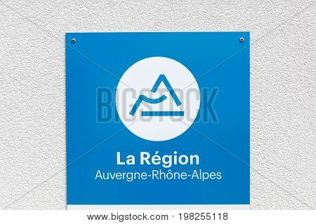 Lyon, France - July 27, 2017: Region Auvergne Rhone-Alpes in France sign on a wall. Auvergne Rhone-Alpes is a region of France created by the territorial reform of French Regions in 2014