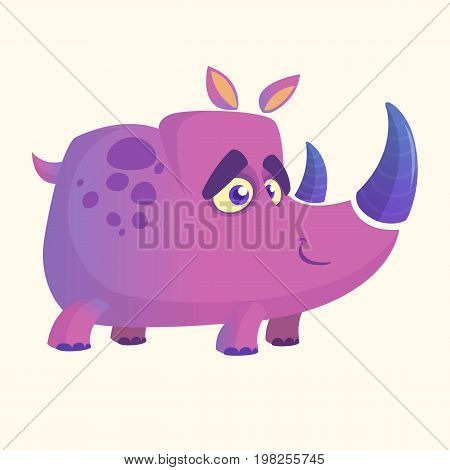 Violet cartoon rhino. Vector image of colorful rhino mascot