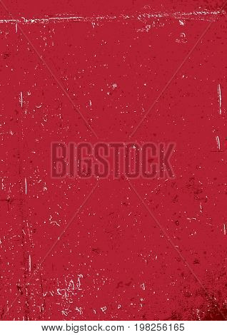 Red grunge background. Blank aged red paper background, vertical. A4 format, grunge textures in layers and can be edited.