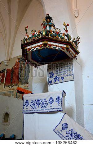 Pulpit of the fortified medieval church in Dirjiu, Transylvania