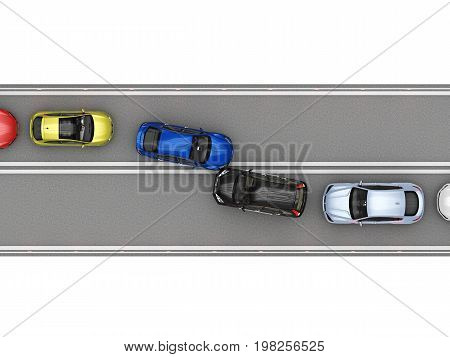 Congestion on narrow road because of crash. 3d rendering poster