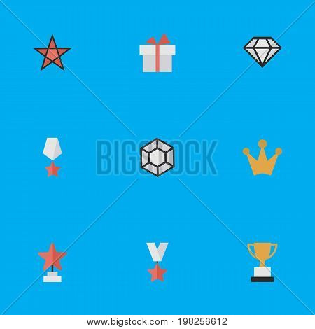 Elements Corona, Diamond, Trophy And Other Synonyms Star, Crown And Prize.  Vector Illustration Set Of Simple Trophy Icons.