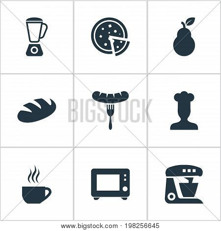 Elements Hot Dog, Tortilla, Breakfast And Other Synonyms Bartlett, Frankfurter And Microwave.  Vector Illustration Set Of Simple Gastronomy Icons.