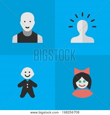 Elements Girl, Contour, Man And Other Synonyms Contour, Section And Girl.  Vector Illustration Set Of Simple Avatar Icons.