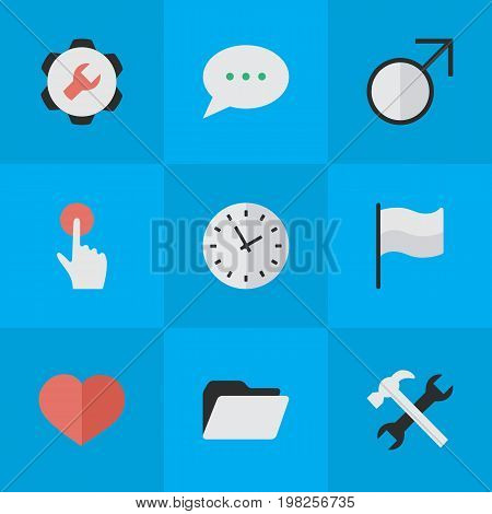 Elements Settings, Tools, Mars Sign And Other Synonyms Pointer, Man And Options.  Vector Illustration Set Of Simple Interface Icons.