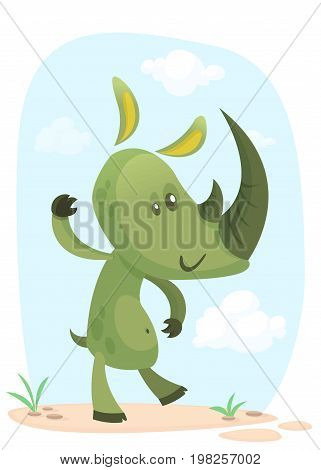 Cartoon rhino. Vector character rhino waving isolated