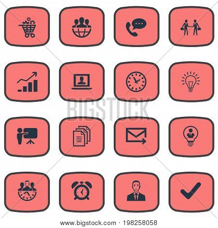 Elements Bubl, Watch, Gear Cart And Other Synonyms Mail, Light And Check.  Vector Illustration Set Of Simple Plan Icons.