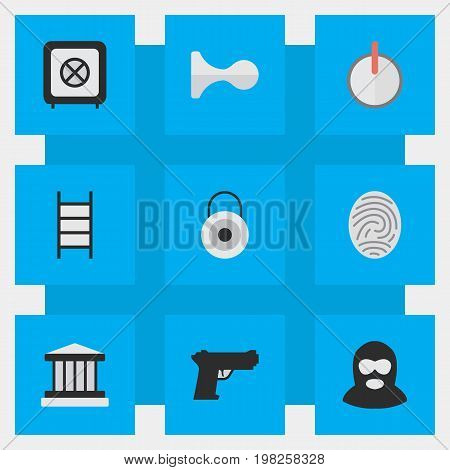 Elements Grille, Criminal, Safe And Other Synonyms Password, Lock And Climbing.  Vector Illustration Set Of Simple Crime Icons.