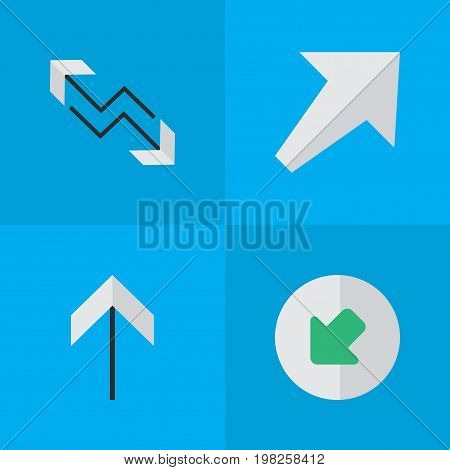 Elements Northwestward, Arrow, Southwestward And Other Synonyms Northwestward, Boom And Arrow.  Vector Illustration Set Of Simple Cursor Icons.