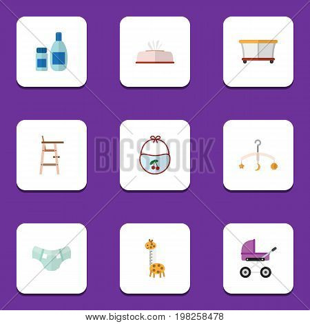 Flat Icon Kid Set Of Playground, Pinafore, Nappy And Other Vector Objects