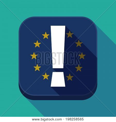 Long Shadow Eu Square Button With An Admiration Sign