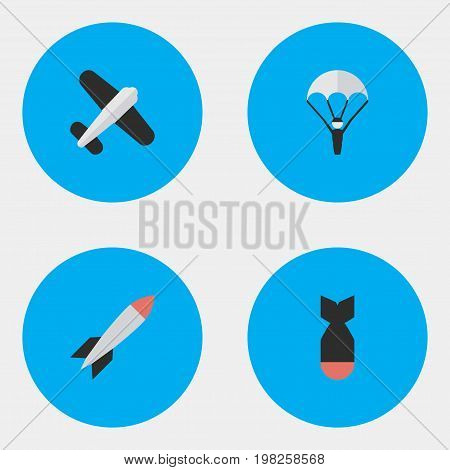 Elements Bomb, Rocket, Catapults And Other Synonyms Man, Rocket And Vehicle.  Vector Illustration Set Of Simple Airplane Icons.