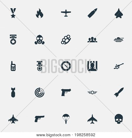 Elements Star, Walkie-Talkie, Shot And Other Synonyms Jailer, Artillery And Bomber.  Vector Illustration Set Of Simple Combat Icons.