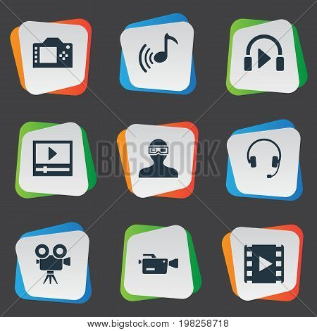 Elements Movie Streaming, Sound, Earmuff And Other Synonyms Movie, Earmuff And Play.  Vector Illustration Set Of Simple Multi Icons.