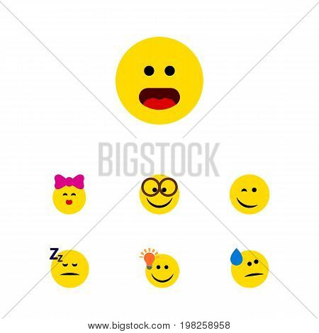 Flat Icon Expression Set Of Pleasant, Tears, Wonder And Other Vector Objects