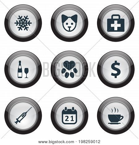 Elements Footprint, Alcohol, Dog And Other Synonyms Greenback, Footprint And Snow.  Vector Illustration Set Of Simple Brood Icons.