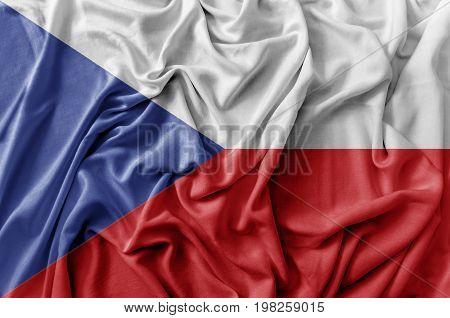 Ruffled waving Czech flag national flag close