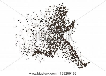 Running Man Particle Divergent Silhouette. Can Be Used For Sport And Fitness Club Poster, For Logo,