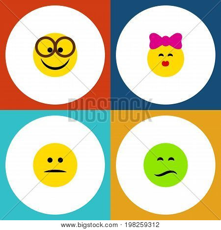 Flat Icon Gesture Set Of Displeased, Pleasant, Frown And Other Vector Objects