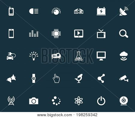 Elements Tv, Cctv, Hand Clock Synonyms Computer, Presentation And Time.  Vector Illustration Set Of Simple Technology Icons.