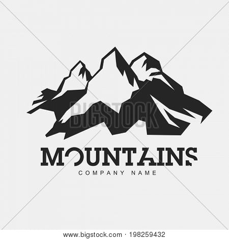 Mountains illustration.  raster abstract logo for adventure theme. Isolated on white background. Mountaineering logotype template.