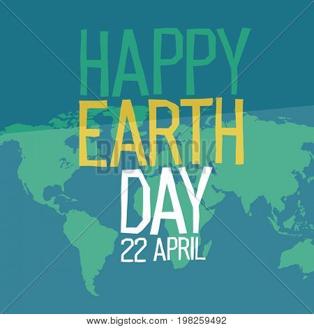 Earth day poster design in flat style. 22 April holiday card. Similar world map background raster illustration. Save the planet concept.
