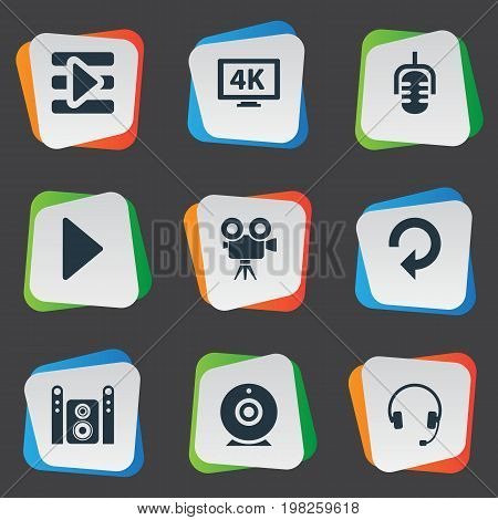 Elements Start Audio, Update, Tripod And Other Synonyms Earphone, Record And Cam.  Vector Illustration Set Of Simple Multimedia Icons.