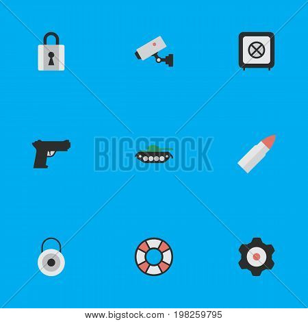 Elements Military, Closed, Shot And Other Synonyms Lock, Padlock And Military.  Vector Illustration Set Of Simple Offense Icons.