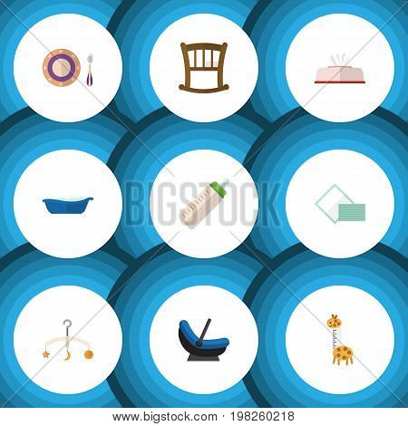 Flat Icon Infant Set Of Bathtub, Infant Cot, Napkin And Other Vector Objects