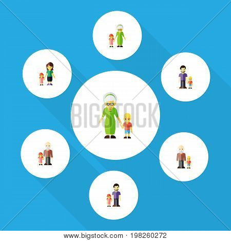 Flat Icon Family Set Of Grandpa, Grandchild, Son Vector Objects