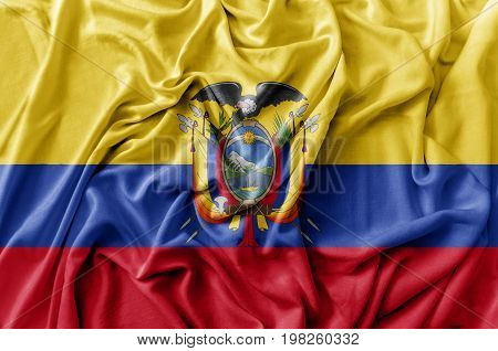 Ruffled waving Ecuador flag national flag close