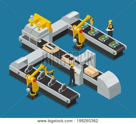 Colored car electronics autoelectronics isometric factory composition with robotized process in the factory vector illustration