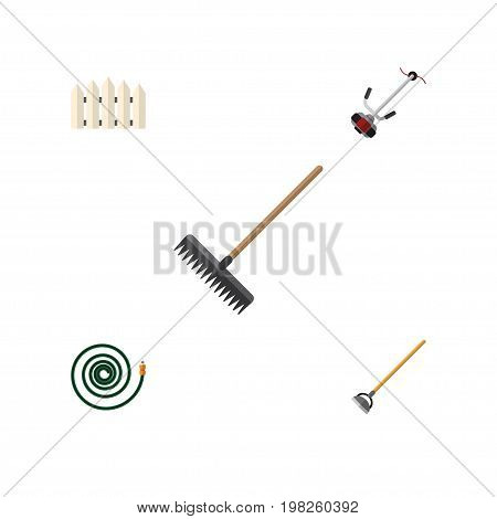 Flat Icon Farm Set Of Grass-Cutter, Wooden Barrier, Hosepipe And Other Vector Objects