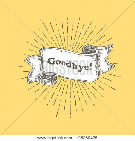Goodbye. Vintage ribbon banner with text