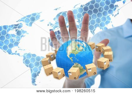 Man pretending to touch invisible device screen against background with hexagons and world map