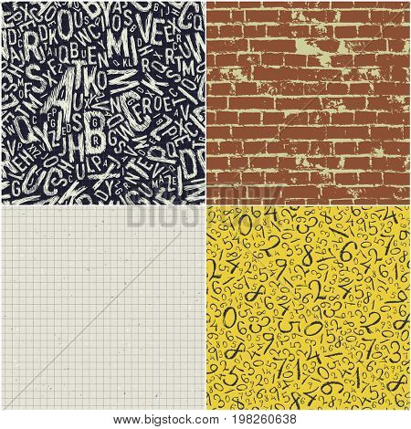 Four educational seamless patterns  Raster collection. Back to school backgrounds  Raster set