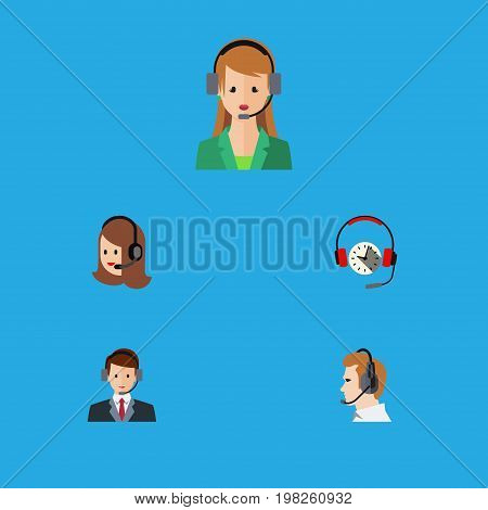 Flat Icon Telemarketing Set Of Secretary, Headphone, Service And Other Vector Objects