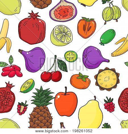 Colorful vector seamless pattern with fruits. Abstract healthy food background with fruits for wallpaper, web page background, wrapping, textile and scrapbook.