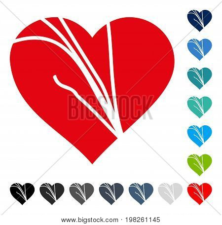 Damaged Love Heart icon. Vector illustration style is a flat iconic symbol in some color versions.