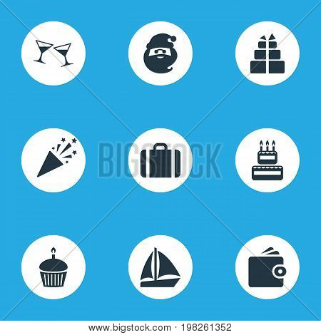 Elements Wallet, Cake, Cocktail And Other Synonyms Boat, Party And Holiday.  Vector Illustration Set Of Simple Vacation Icons.