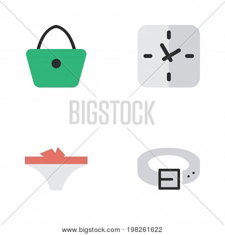 Elements Lingerie, Time, Strap And Other Synonyms Handbag, Panties And Waist.  Vector Illustration Set Of Simple Accessories Icons.