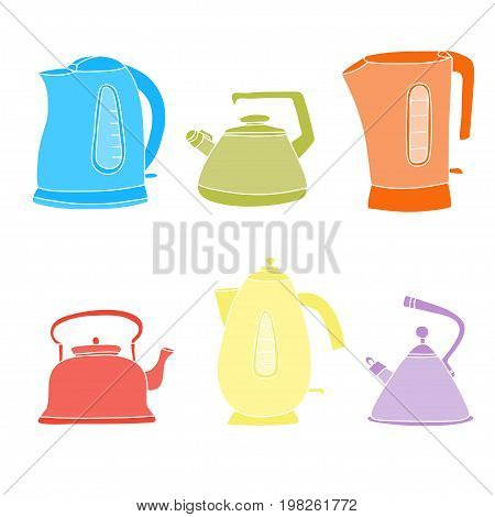 Tea time cartoon set. Vector isolated objects. Pretty color teapots.